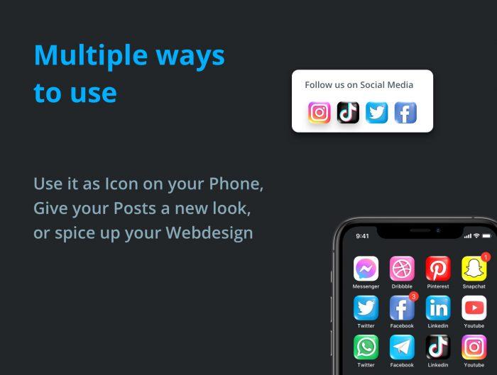 3d social media icon pack free 3 - UI Freebies