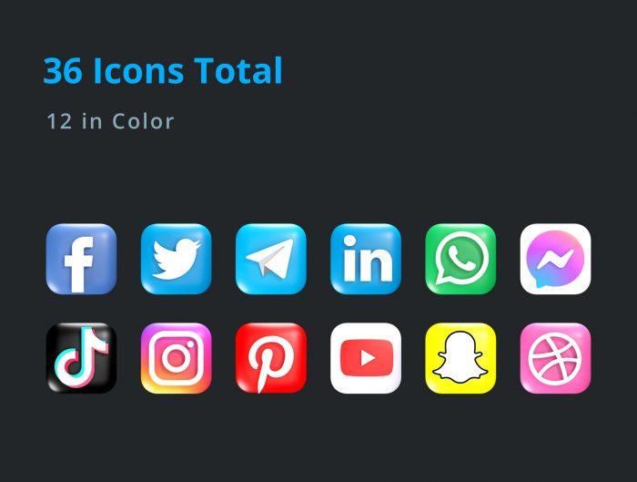 3d social media icon pack free 4 - UI Freebies