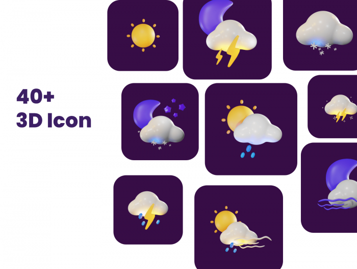 3d weather icons pack free 1 - UI Freebies