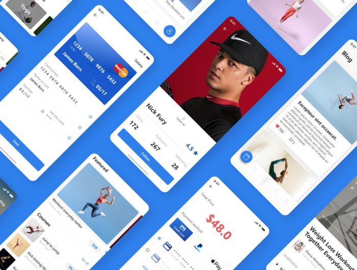 Fitness App UI Kit Free Download - UI Freebies
