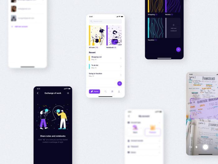 Note Taking App Design Free - UI Freebies