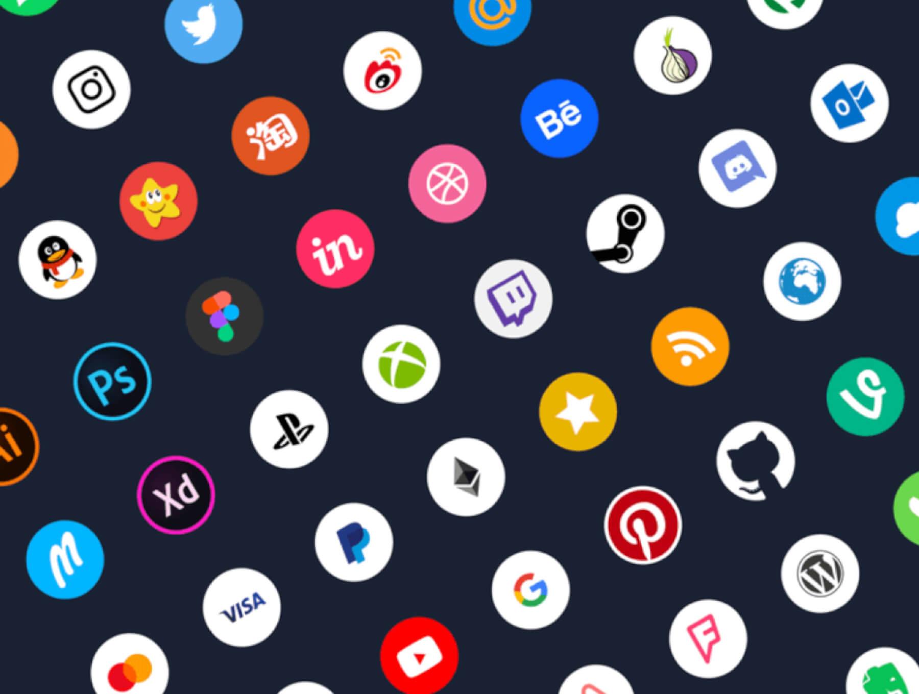 100 Social Icons Sketch Free
