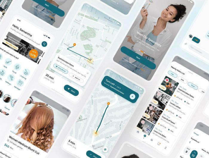 Beauty Salon App Design Free - UI Freebies
