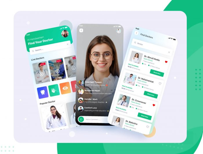 Doctor App Free UI Kit - UI Freebies