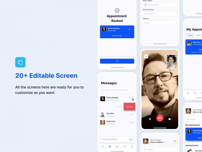 doctor mobile app design free 1 - UI Freebies