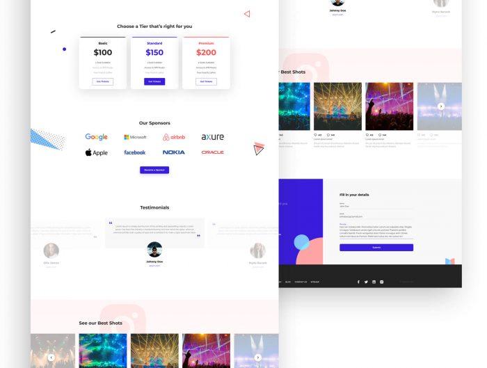 Music Landing Page Free - UI Freebies
