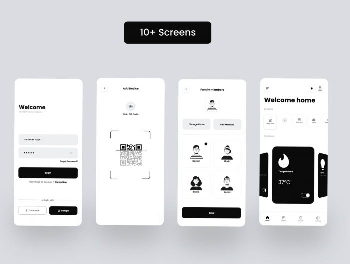smart home mobile app design 1 - UI Freebies