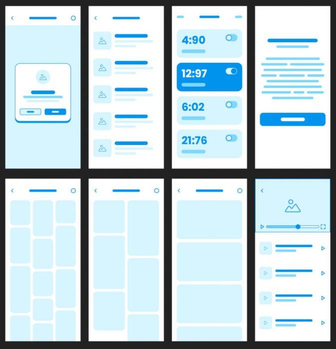 Wireframe Mobile App Free - UI Freebies