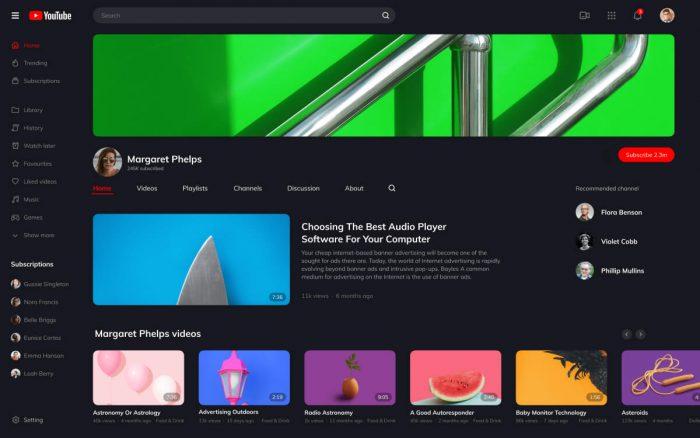 YouTube Redesign Free Download - UI Freebies