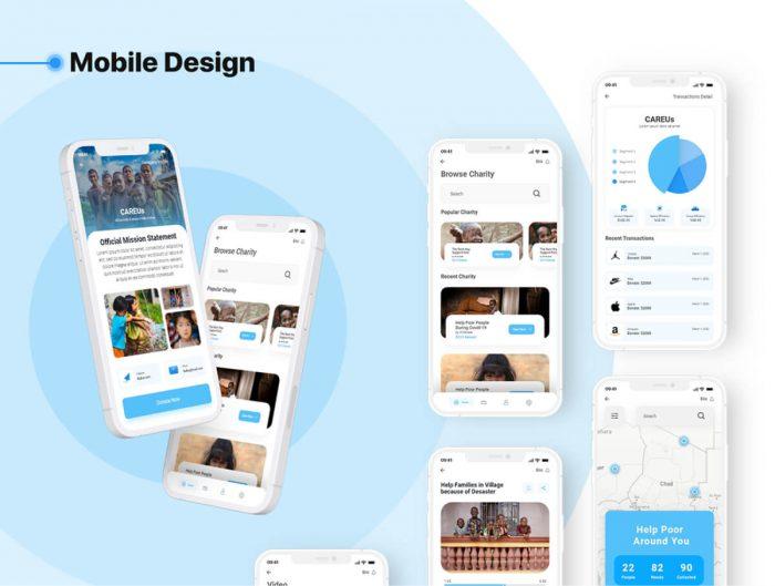 Charity App UI Kit Free - UI Freebies