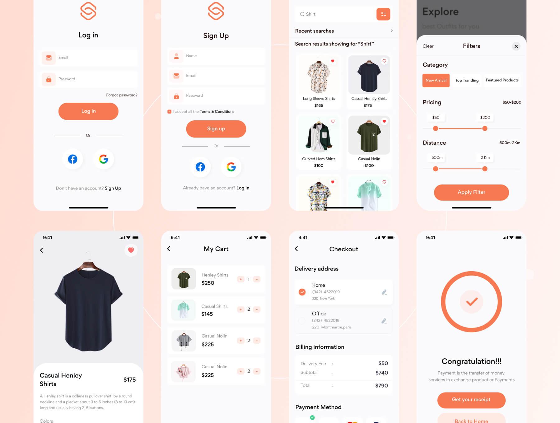 Clothing E-Commerce App Design Free - UI Freebies