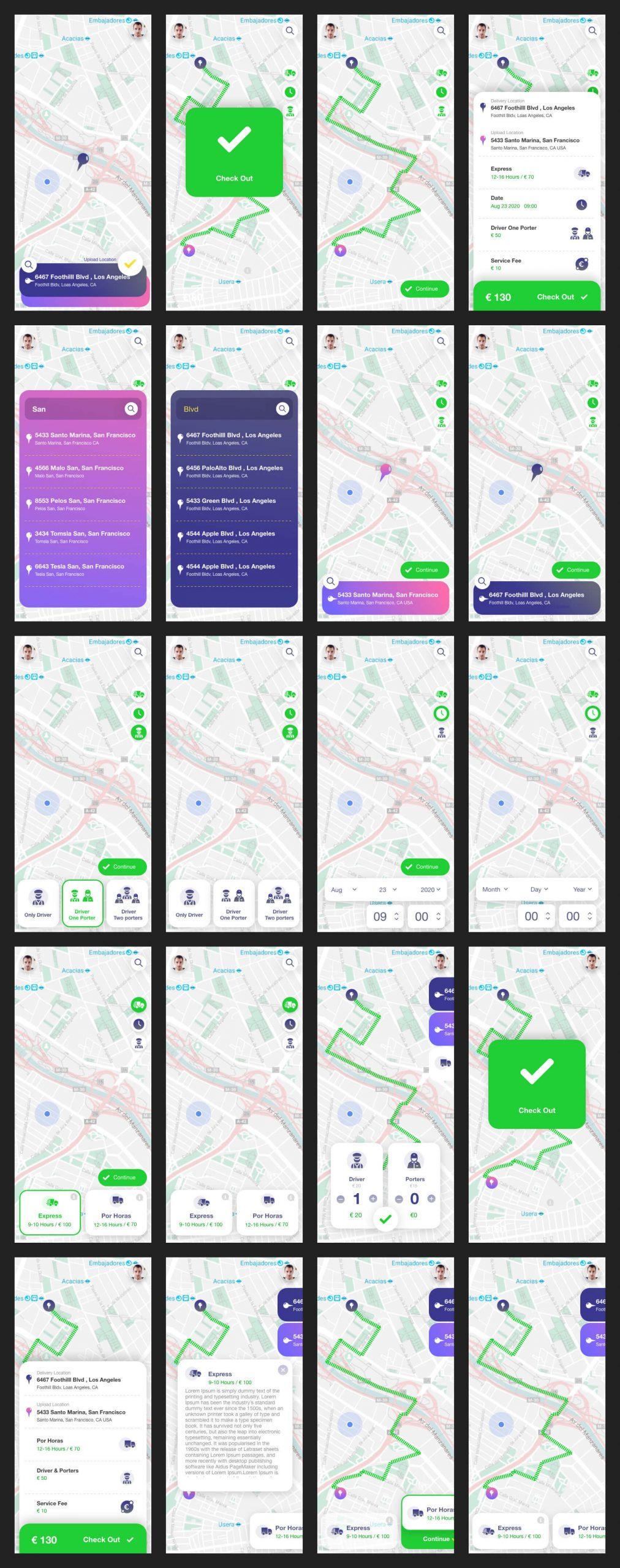 Delivery Truck App Free UI Kit - UI Freebies