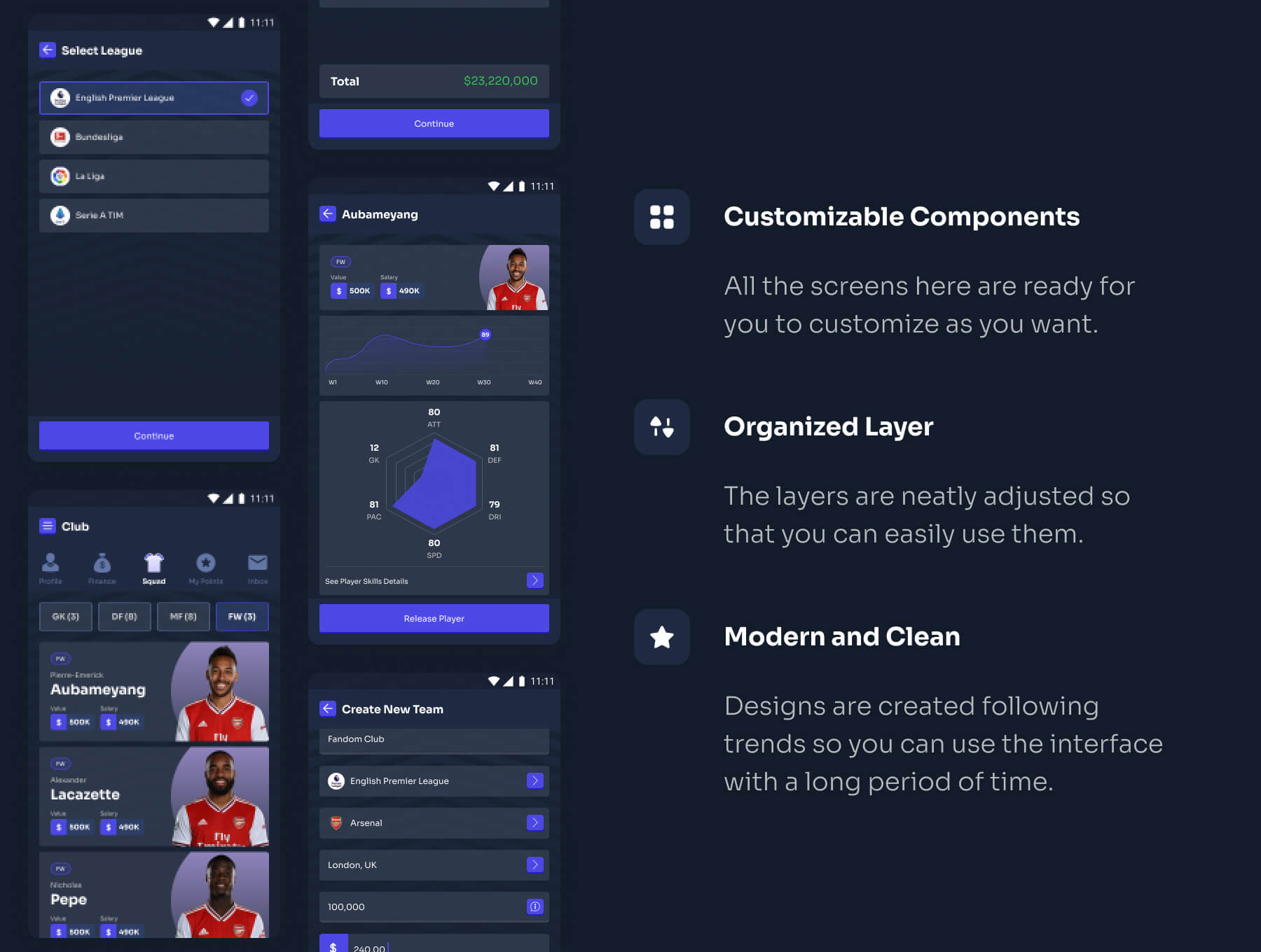 Football Manager Game UI Kit Free - UI Freebies