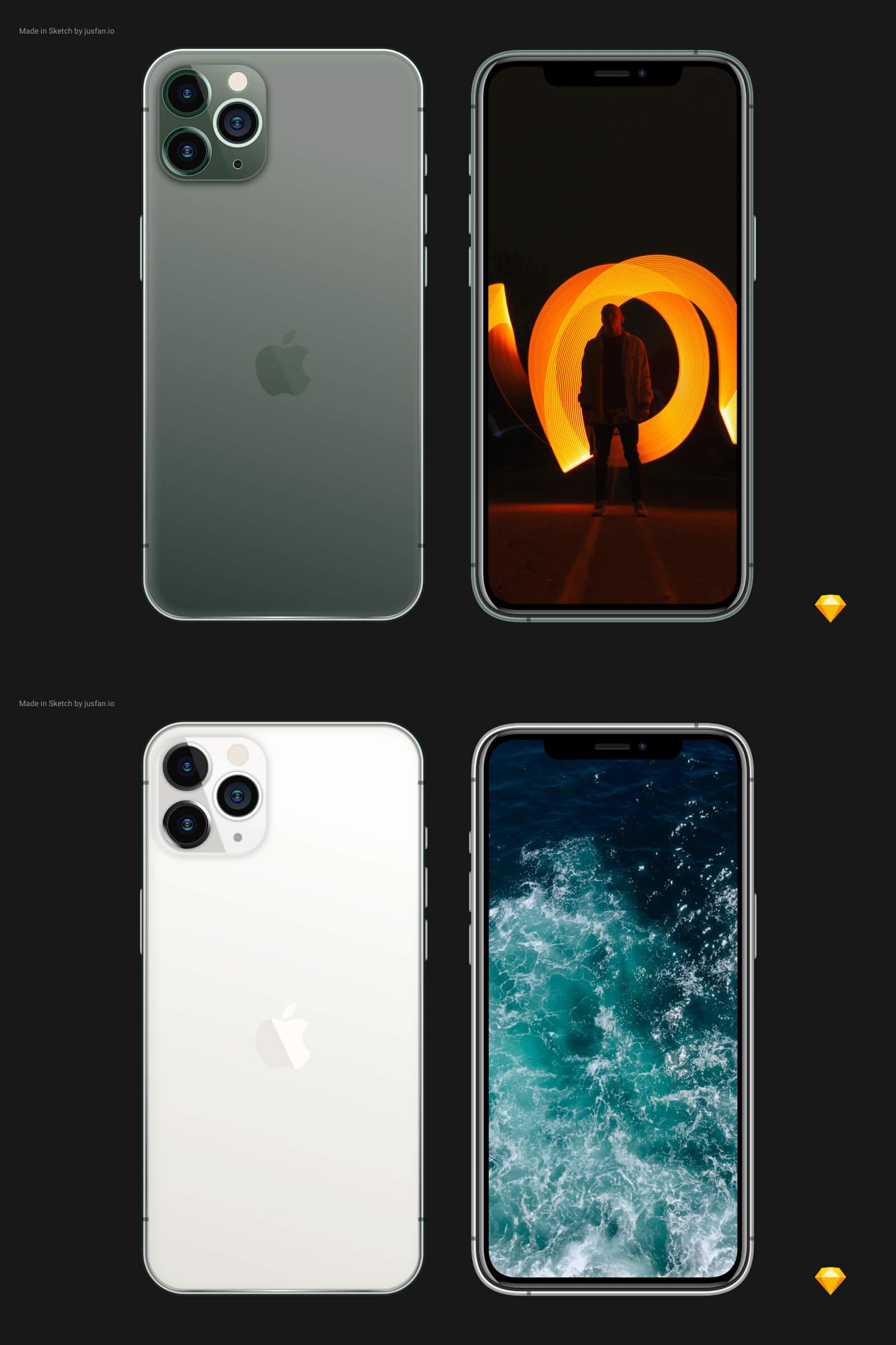 iPhone 11 Pro Mockup Sketch Free - UI Freebies
