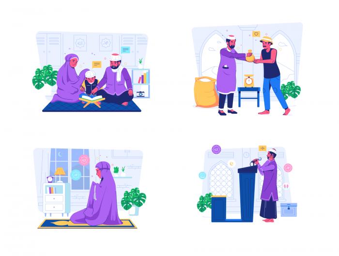 Islamic Illustration Set Free - UI Freebies