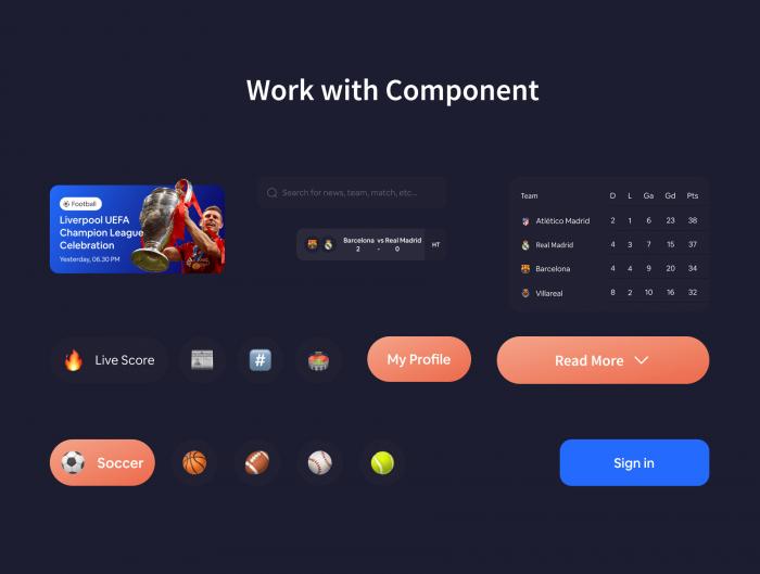 Live Score UI Kit Free - UI Freebies
