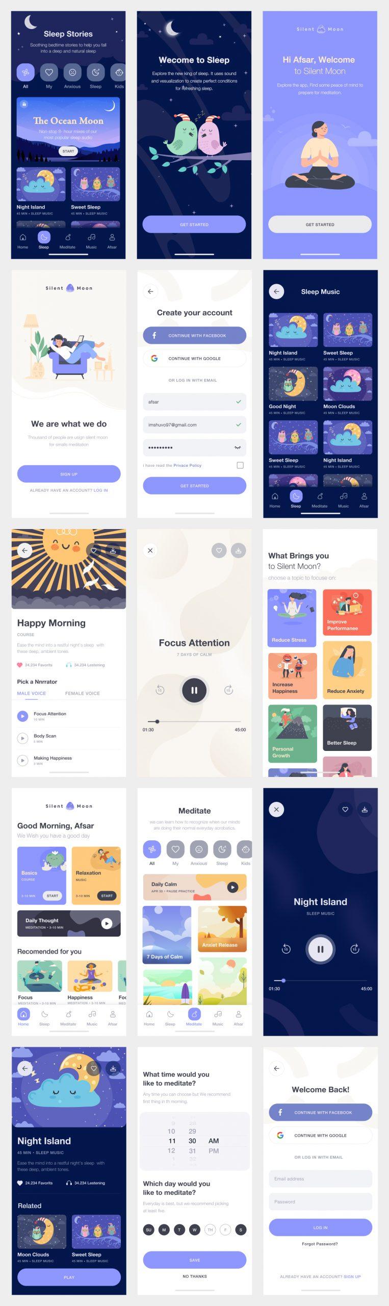 Meditation App Free UI Kit - UI Freebies