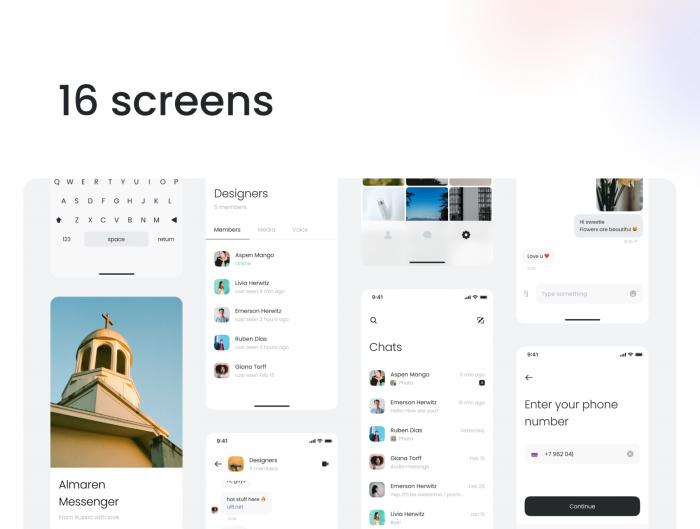 Messenger UI Kit Free for Figma - UI Freebies