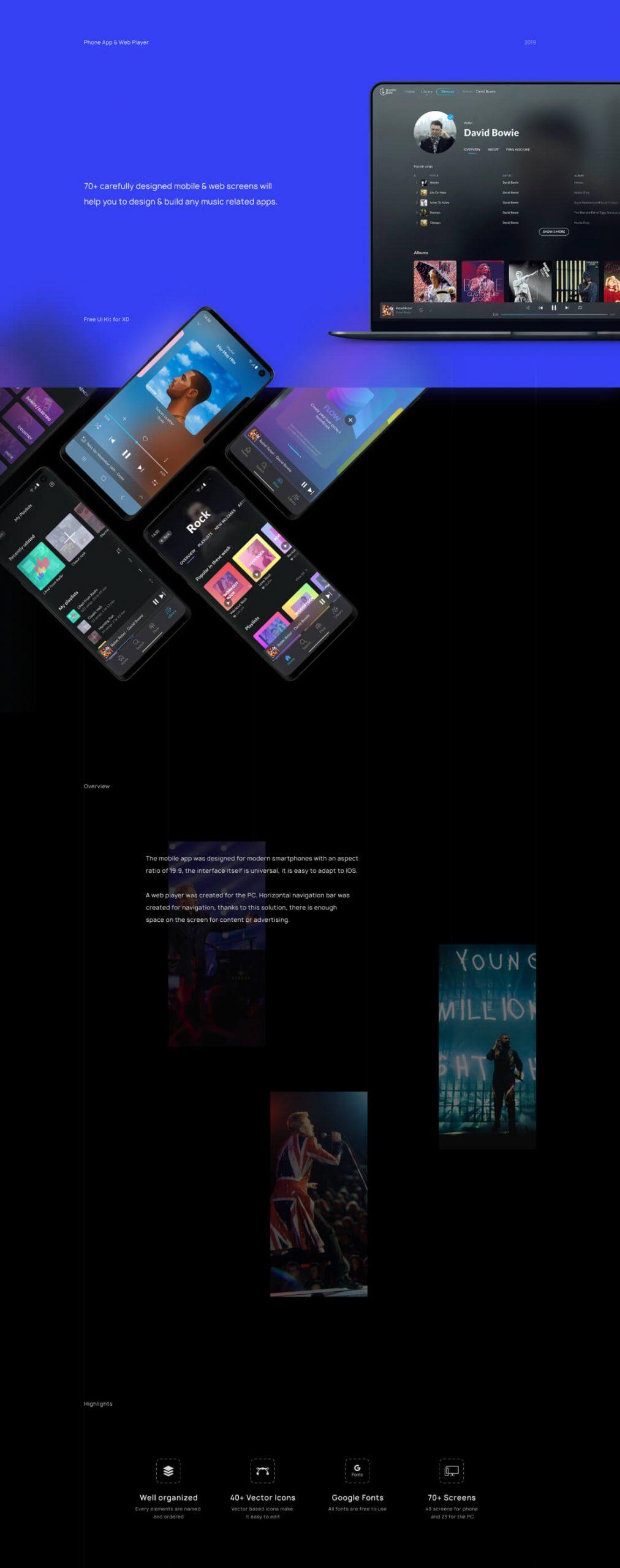 Music Player UI Kit XD Free - UI Freebies