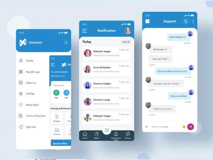 Online Wallet App UI Kit Free - UI Freebies