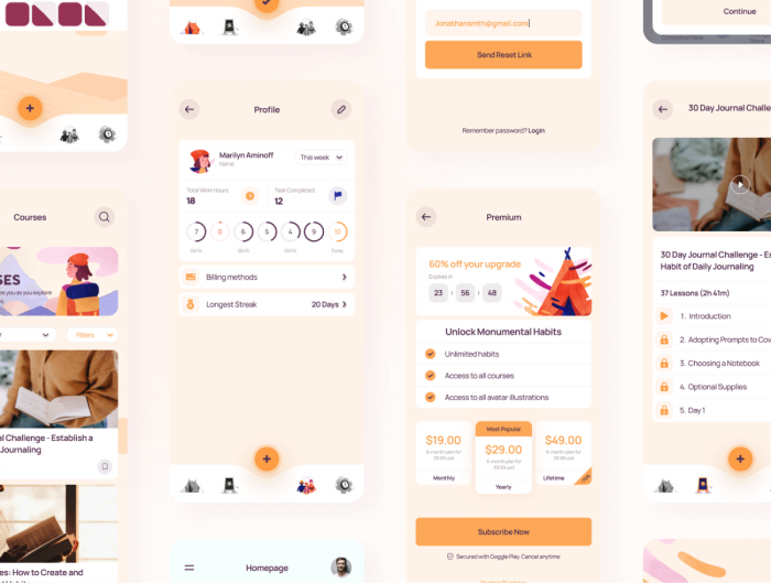 Monumental Habit App UI Kit Free - UI Freebies