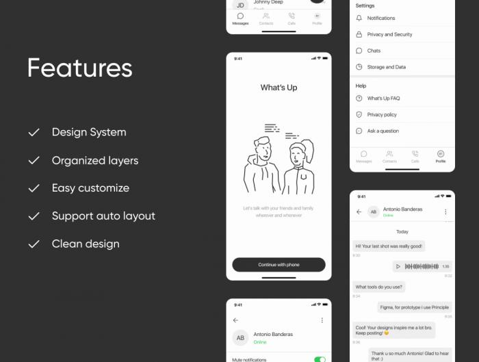 What's Up Messenger App UI Kit Free - UI Freebies