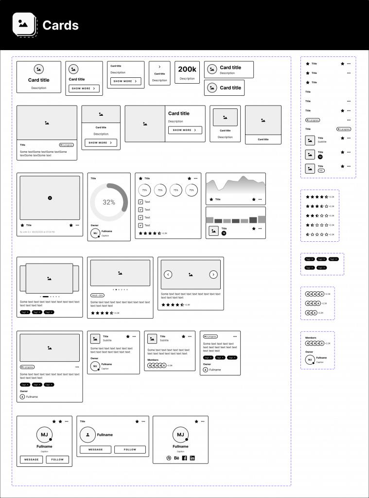 Variants Wireframe Library Free - UI Freebies