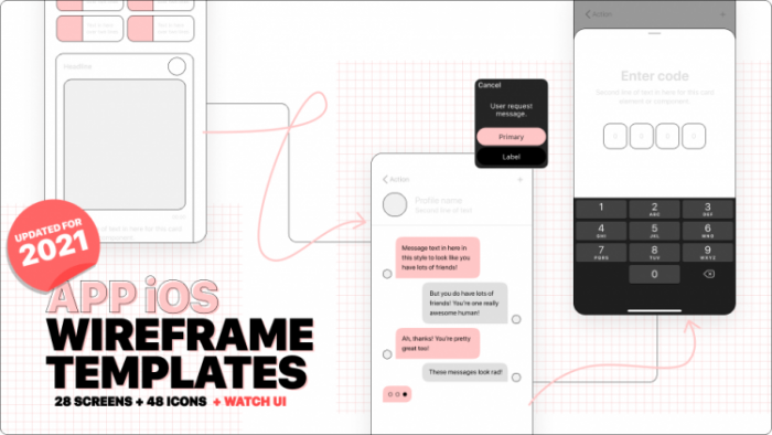 iOS App Wireframes Template Free