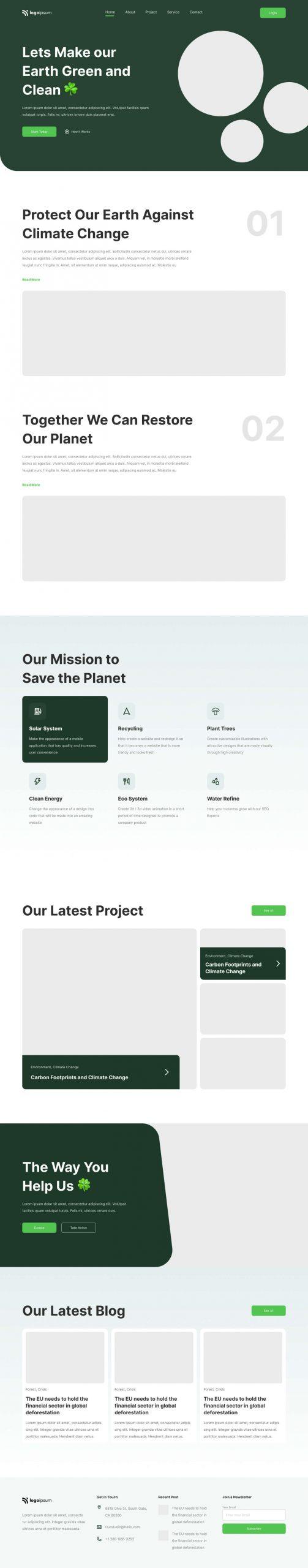 Environmental Landing Page Design Free - UI Freebies