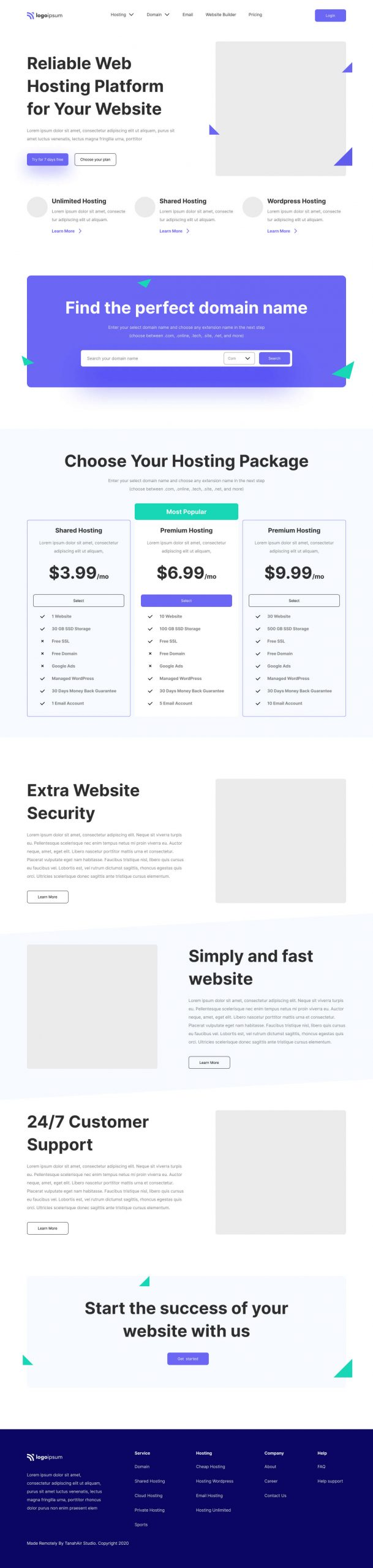 Hosting Service Landing Page Design Free - UI Freebies