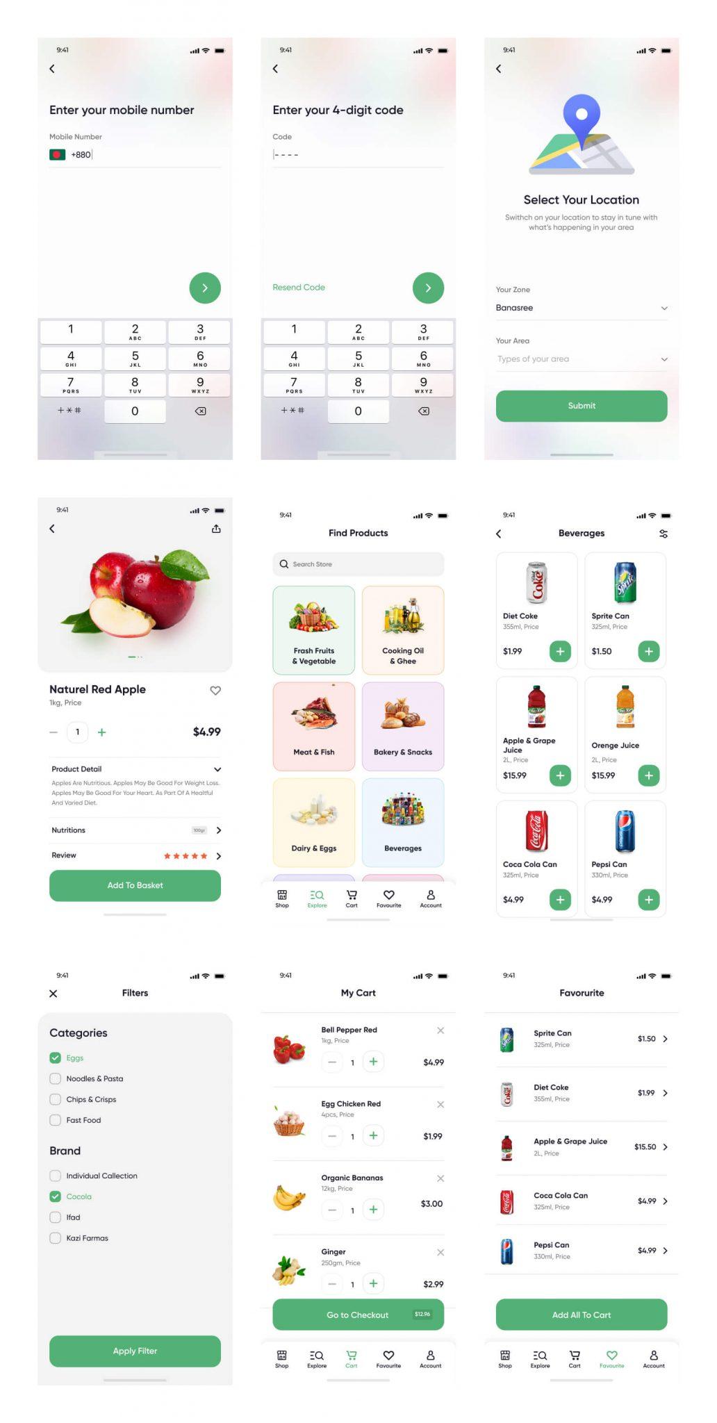 Online Groceries App UI Kit Free - UI Freebies