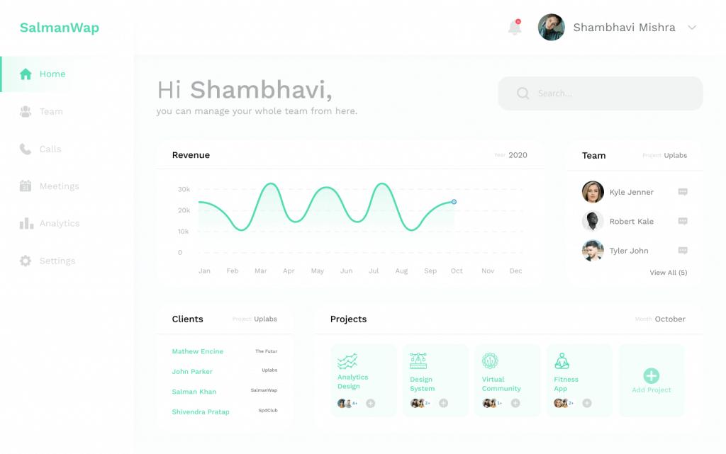 Team Management Dashboard Design Free - UI Freebies