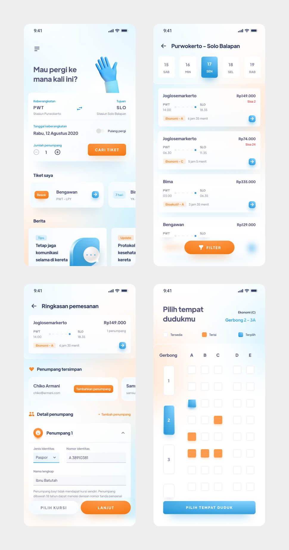 Train Ticket App UI Kit Free - UI Freebies
